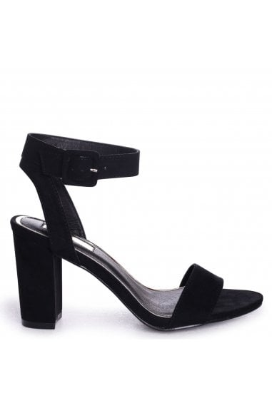 Millie Black Suede Open Toe Block Heels With Ankle Strap And Buckle Detail