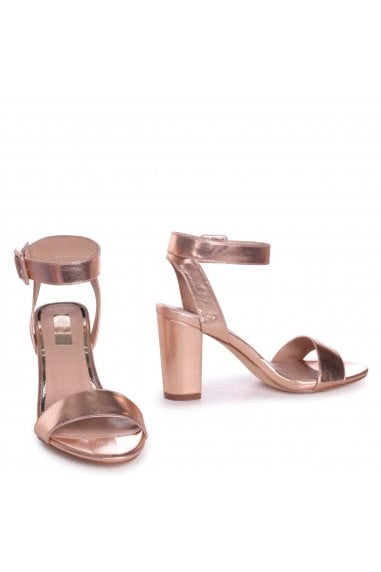 Millie Rose Gold Metallic Open Toe Block Heels With Ankle Strap And Buckle Detail