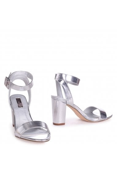 Millie Silver Metallic Open Toe Block Heels With Ankle Strap And Buckle Detail
