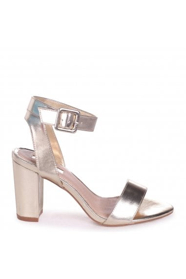 Millie Gold Metallic Open Toe Block Heels With Ankle Strap And Buckle Detail