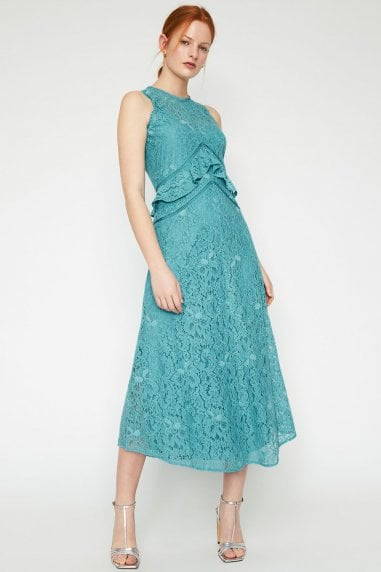 Aqua Frill Lace Midi Dress