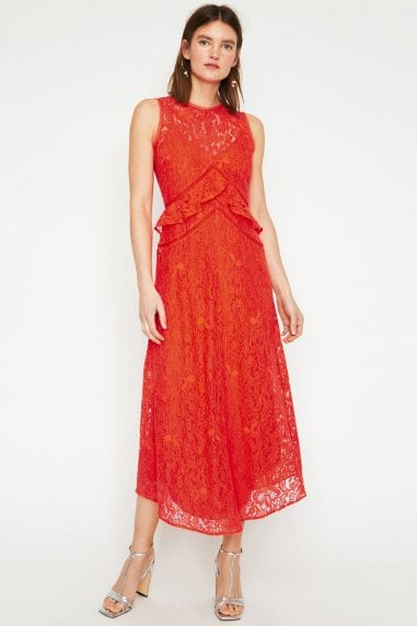 Coral Frill Lace Midi Dress