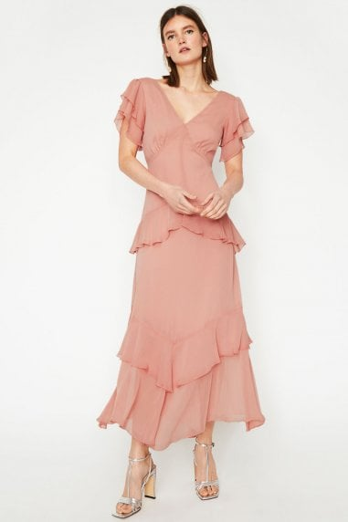 Light Pink Tiered Ruffle Maxi Dress