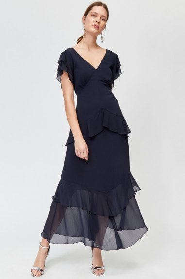 Navy Tiered Ruffle Maxi Dress
