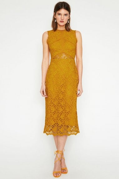 Corded Lace Dress In Yellow