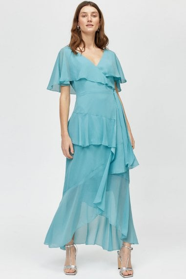 Aqua Ruffle Wrap Maxi Dress
