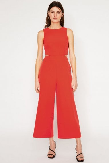 Coral Open Back Jumpsuit