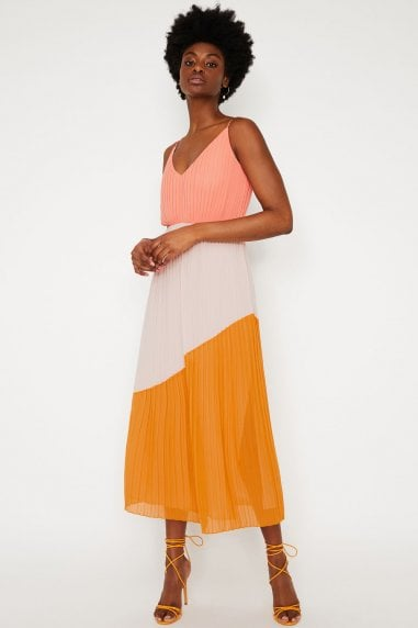 Multi Colourblock Pleated Dress