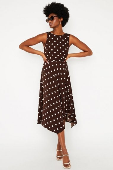 Tie Back Spot Midi Dress In Brown Print