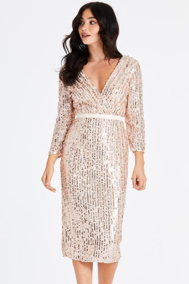 Jena Sequin Stripe Pencil Midi Dress