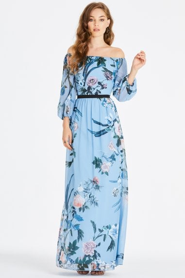 Rori Blue Floral Bardot Maxi Dress