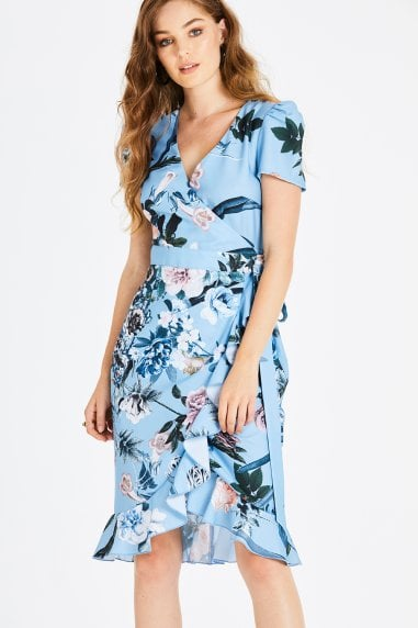 Rori Blue Floral Midi Wrap Dress