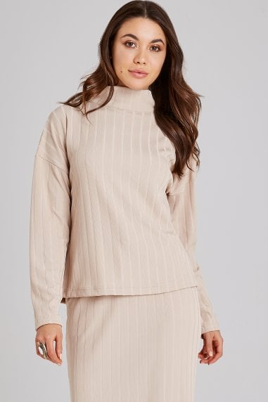 Nimble Biscuit Rib Button Jumper Co-ord