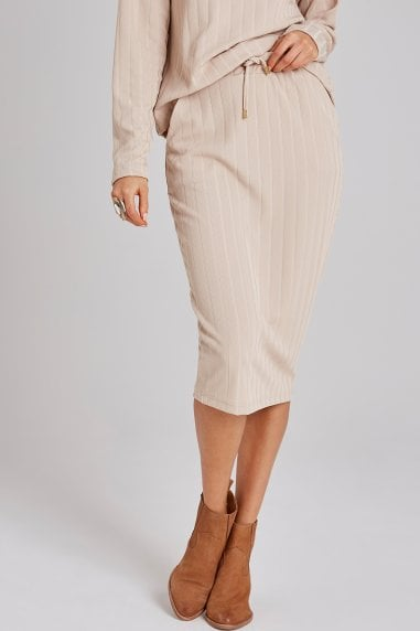 Nimble Biscuit Rib Midi Skirt Co-ord