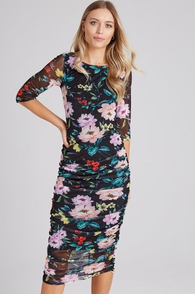 Matteo Floral-Print Ruched Midi Dress