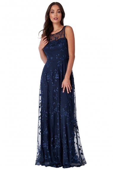 Mesh Embroidered Maxi Dress - Navy