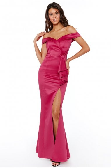 Bardot Maxi Dress with Bow Detail - Cerise