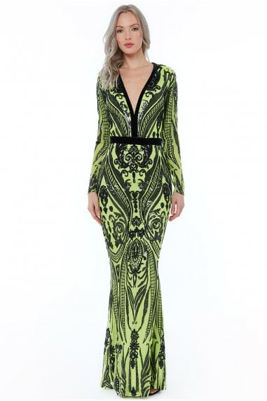 Embroidered Sequin Maxi Dress - Lime