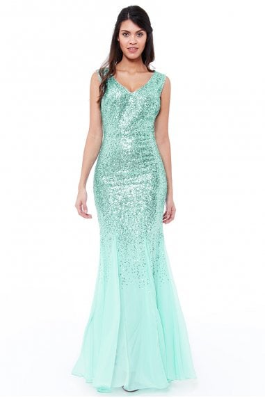 Mint Sequin and Chiffon Maxi Dress