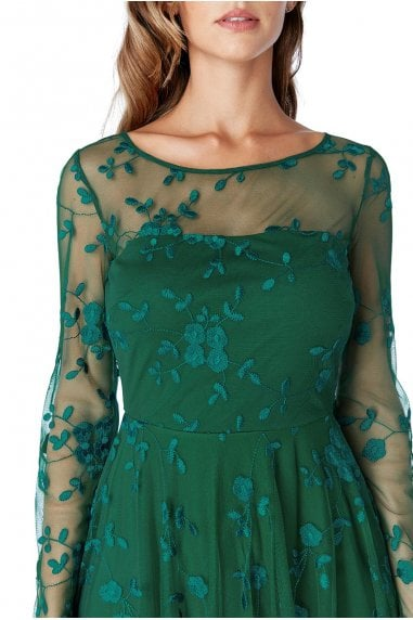 Emerald Mesh Embroidered Midi Dress