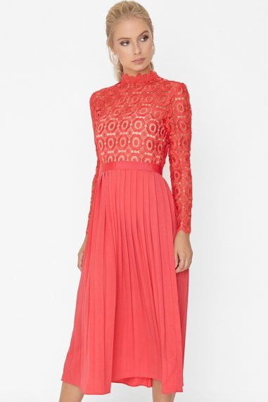 Alice Poppy Crochet Top Midaxi Dress With Pleated Skirt