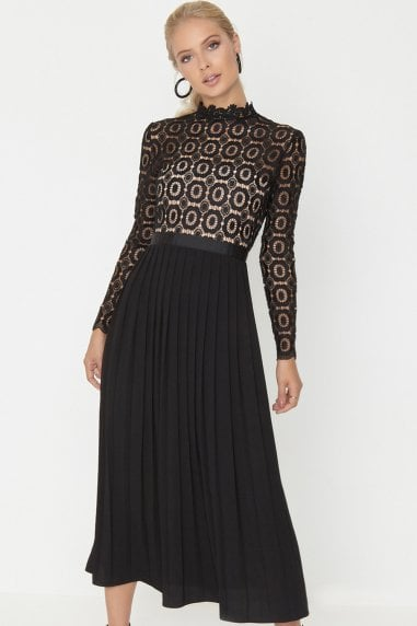 Alice Black Crochet Top Midi Dress With Pleated Skirt