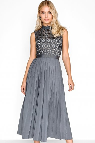 Alice Grey Sleeveless Crochet Top Midaxi Dress With Pleated Skirt