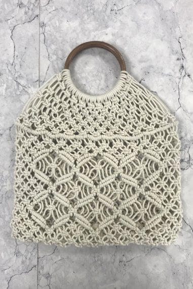Cream Woven Wood Handle Tote Bag