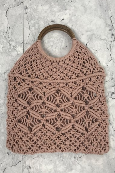 Pink Woven Wood Handle Tote Bag