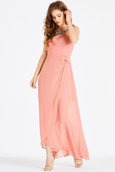 Carrie Orange Hand-Embellished Maxi Dress