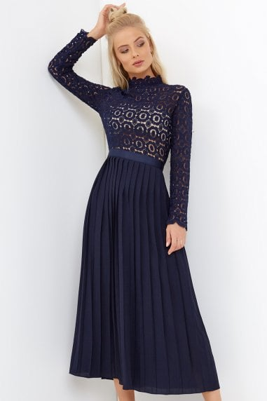 e85563c398a5 Alice Navy Crochet Top Dress With Pleated Skirt ...