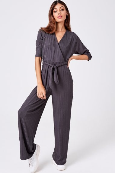 Lithe Charcoal Wide-Leg Jumpsuit