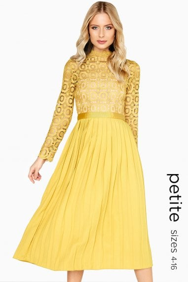 Alice Mustard Crochet Midi Top Dress With Pleated Skirt
