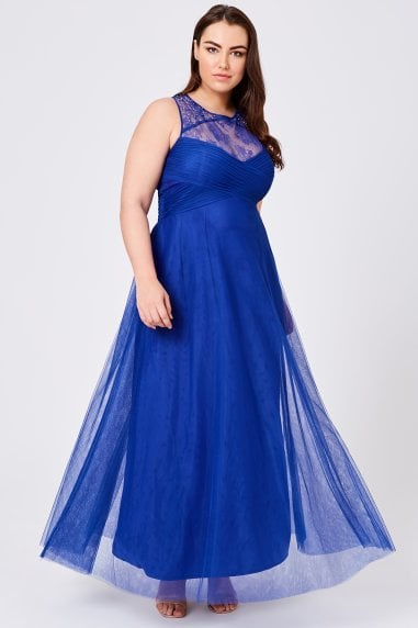 Karly Cobalt Lace Hand-Embellished Maxi Dress