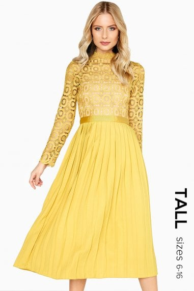 Alice Mustard Crochet Top Midaxi Dress With Pleated Skirt