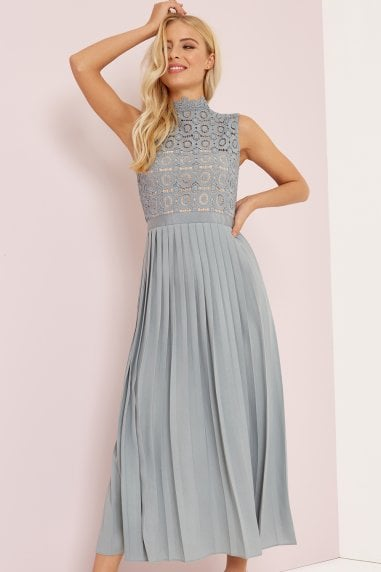 Alice Waterlily Sleeveless Crochet Top Midaxi Dress With Pleated Skirt