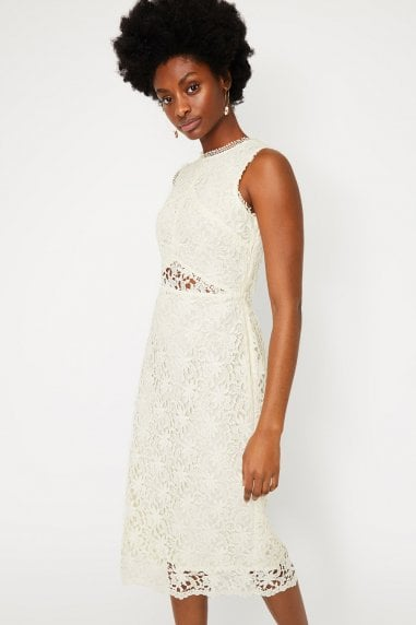 Cream Corded Lace Midi Dress