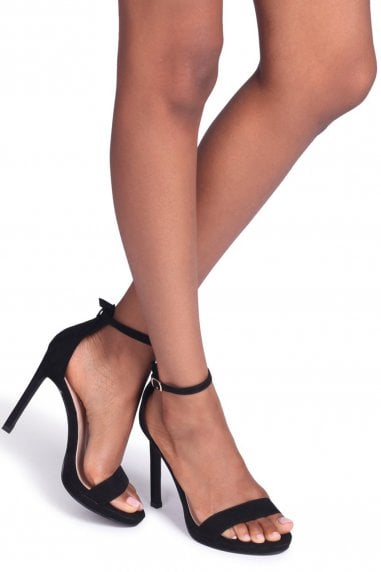 Gabriella Black Suede Barely There Stiletto Heels With Slight Platforms