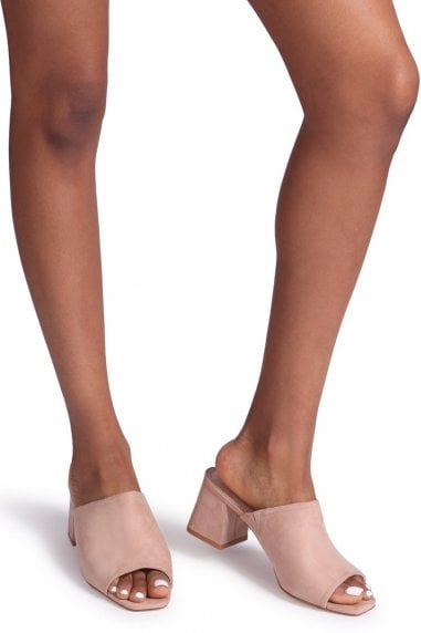 Robyn Nude Suede Square Toe Open Mules