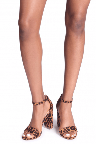 Nelly Brown Leopard Suede Single Sole Block Heels