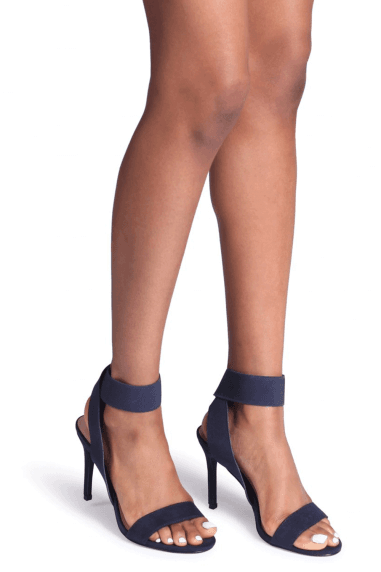 CRYSTAL - Navy Suede Stiletto Heel With Elasticated Upper