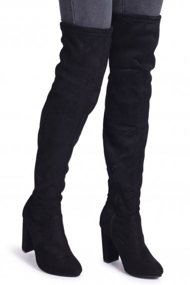 Rosalinda Black Suede Over The Knee Heeled Boots