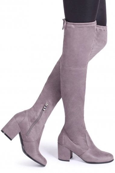 Amber Grey Suede Block Heeled Over The Knee Boots with Tie Up Back