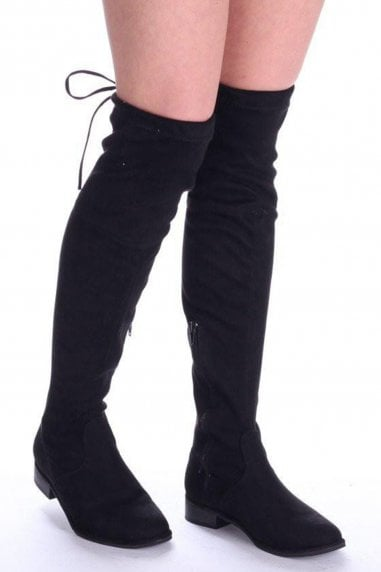 Merci Black Suede Over the Knee Flat Suede Boots with Tie Up Back