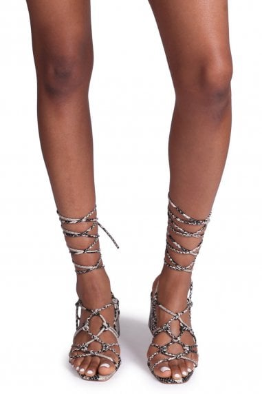 HOUSTON - Natural Snake Strappy Heeled Sandal With Knotted Front Detail