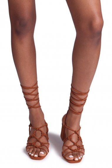 HOUSTON - Toffee Suede Strappy Heeled Sandal With Knotted Front Detail