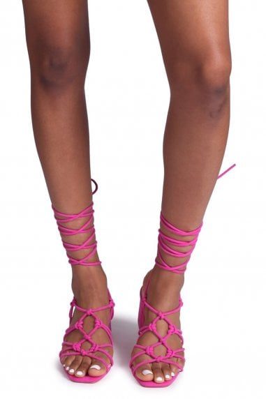 HOUSTON - Fuchsia Suede Strappy Heeled Sandal With Knotted Front Detail