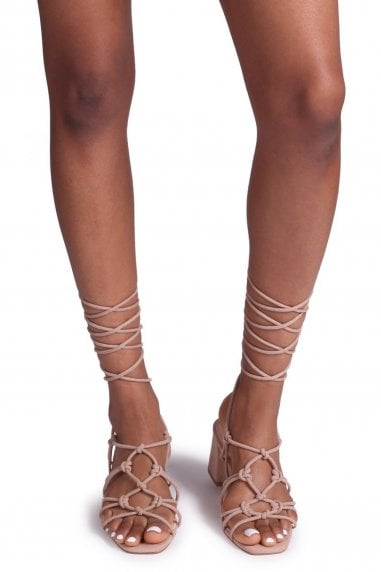 HOUSTON - Nude Suede Strappy Heeled Sandal With Knotted Front Detail