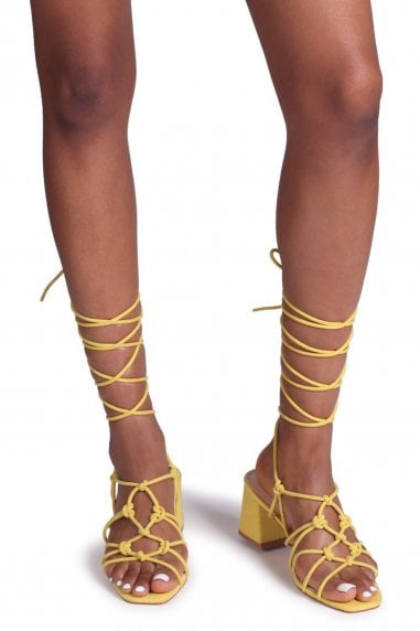 HOUSTON - Yellow Suede Strappy Heeled Sandal With Knotted Front Detail