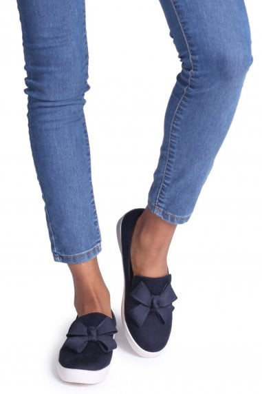 Chic Navy Suede Classic Slip On Skater With Organza Bow Front Detail